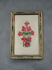 Completed cross stitch Mom picture in frame, Birthday or Mother's Day gift