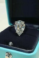 Certified 5.15Ct Pear Cut White Diamond Engagement Ring and Solid 14K White Gold