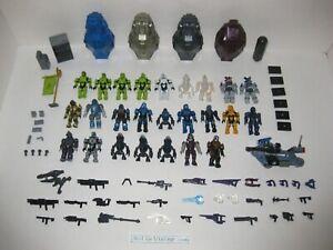 Mega Bloks Construx LOT Halo 25 Figures 60 Weapons & Accessories 4 Drop Pods SET