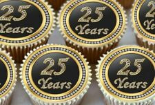 24 X 25TH BIRTHDAY ANNIVERSARY EDIBLE CUPCAKE TOPPERS THICK RICE PAPER 1172
