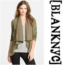 BLANK NYC  DRAPED  ASYMMETRICAL  FRONT FAUX  LEATHER  JACKET   Sz M  NEW    $ 98