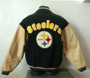 Vintage Pittsburgh Steelers Mirage Leather Wool Bomber Jacket Size Large NFL