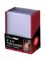 (25) Ultra Pro Red Border Topload Card Holder Toploaders ACEO Art Cards