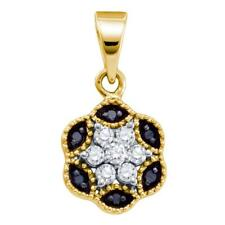 14k Yellow Gold Womens Black Color Enhanced Diamond Hexagon Cluster Pendant