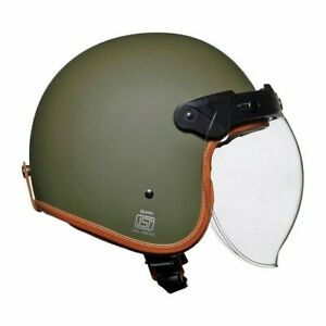 Fits Royal Enfield Battle Green Open Face with Visor Helmet Size M 580mm @AD