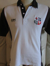 Cotton Traders Rugby Shirt - Four Nations - White with Black Sleeves - Small