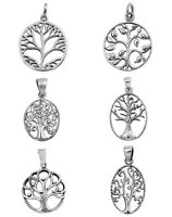 ".925 Sterling Silver ""TREE OF LIFE PENDANT"" WITH BOX CHAIN 015 NECKLACE 18"""