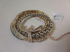 Ann Taylor Loft Bead Crystal Layered Bow Tie Stretch Bracelet NWT 19.50