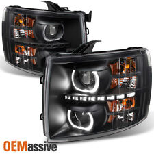 *GAZE* 2007-2013 Chevy Silverado GEN VI Halo SMD LED Black Projector Headlights