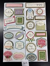 Lot Of 24 Anna Griffin 3D Sentiment Stickers Card Making Scrapbooking