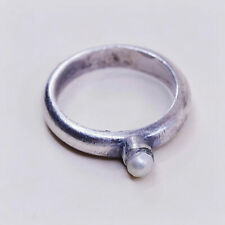 Size 8, vintage Sterling silver handmade ring, modern 925 band with pearl