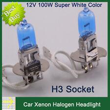 2X H3 100W White Bulb Headlight 12V Car Auto Xenon Halogen Head Light bright