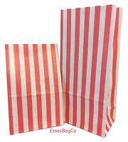"Red Stripe Sweet   Popcorn   Pick n Mix   Gift   Paper Bags  4x7x9"" 60gsm"