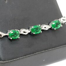 Sparkling Oval Green Emerald Bracelet Wedding Engagement Jewelry 14K Gold Plated