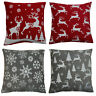 """Festive Chenille Christmas Cushion Covers Decorative Xmas Soft Scatter 18"""" x 18"""""""