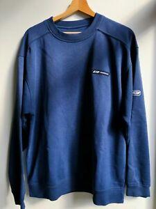 Vintage 1990er Jahre REEBOK Small Logo Sweatshirt Pullover Marineblau | Groß L.