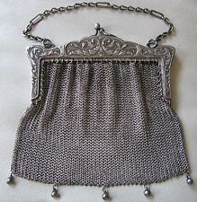 Antique Art Nouveau Deco G Silver Leaf  Floral Mesh Purse AUSTRALIA DINGEE