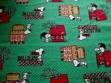 LAST - Peanuts Snoopy Christmas Holiday Delights Green Flannel Fabric - 1 Yard