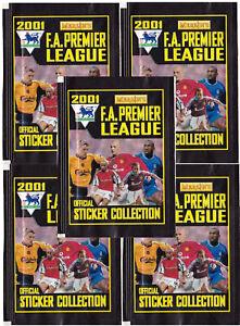 5 x Merlin Premier League 2001 Sticker Packets (New & Sealed s4)