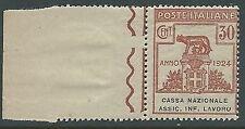 1924 REGNO PARASTATALI CASSA NAZ LAVORO 30 CENT VARIETà O ROTTA MNH ** - M45-6