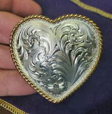 Vintage MONTANA SILVERSMITH Silver Plated Engraved HEART BELT BUCKLE
