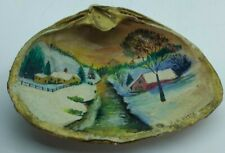 """Vintage Seashell Hand painted art Country Side Painting Shell 5.0"""" X 4.0"""""""
