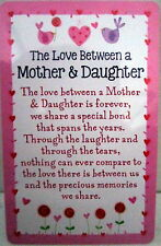 "HEARTWARMER KEEPSAKE MESSAGE CARD ""LOVE BETWEEN MOTHER & DAUGHTER"" LOVELY WORDS"