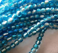 "TWO 10"" Strands Silver Foiled Lined Teal Venetian Style  Lampwork Beads 12mm"