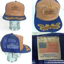 Vtg Rare Leather Mesh Snapback Holiday Ramblers Trucker Hat Camping RV Cap USA