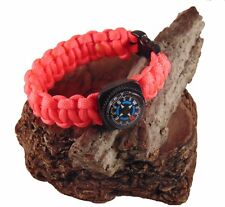 Type-III 7 Strand 550 Paracord Bracelet w/ Compass in Solid Colors