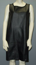 NEIMAN MARCUS Black PERFORATED LEATHER FRONT SHIFT DRESS Sz L HS1201