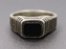 Sterling Silver Small Rectangle Onyx Step Ring Size 7.25 / 5.1g