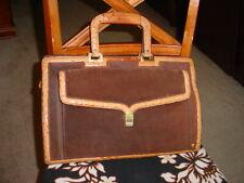 Vintage Ostrich Embossed Leather Suede Satchel BrownTan