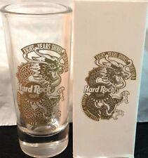 """Hard Rock Cafe JAKARTA 2000 8th Anniversary 4"""" SHOT GLASS in BOX Gold Dragon """"8"""""""
