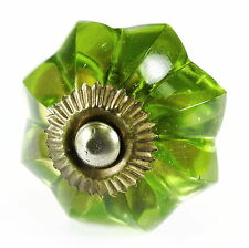 Green Glass Knobs, Cabinet Drawer Pulls or Kitchen Cupboard Handles #K148