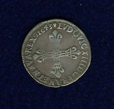 FRANCE  LOUIS XIII  1643-M  1/4 ECU  SILVER COIN, ALMOST XF, TOULOUSE MINT