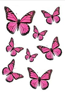 56 x CUTE PINK EDIBLE BUTTERFLIES IDEAL 4 WEDDING BIRTHDAY CAKE TOPPERS WB9