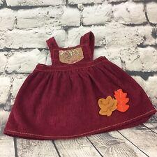 Doll Or Teddy Bear Dress Red Corduroy Jumper Paisley Pocket Autumn Leaves