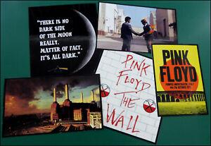 PINK FLOYD, Set of 5 Large Glossy Vinyl Stickers, Wall, Dark Side, Wish, Animals