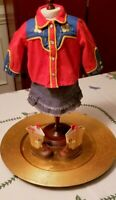 American Girl Molly's Dude Ranch Shirt Embroidered Boots & Denim Western Skirt