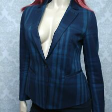 G Star Raw Correct Womens Sturwed Blazer Size 36 US 4 Blue Green Plaid Cotton