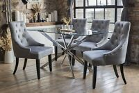 Selina Luxury Dining Table Set & 4 Grey Portia Dining Chairs Glass 1.5m*0.8m