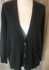 J. Jill CHARCOAL  CASHMERE/WOOL /COTTON BLEND 3 Button pocketed cardigan SZ PS