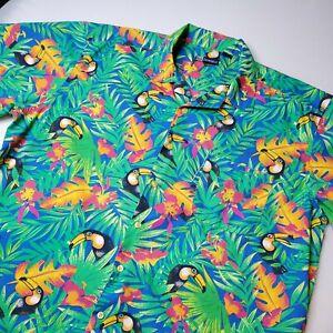 90s Toucan Bird Tropical Floral Print Shirt Vintage Mens Hawaiian Shirt Mens Size Large