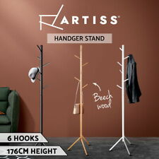 Artiss Coat Hanger Stand Hat Clothes Rack Garment Storage Shelf Hook Wooden Tree