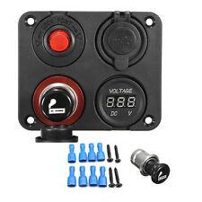 Marine Boat Car RV Voltmeter Dual USB Port 12V Power Socket 4 Hole Panel Switch
