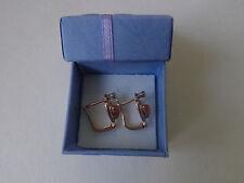 Soviet Rose Gold Earrings 14K 585 Star Carnelian and CZ USSR Russian 3.47 gr