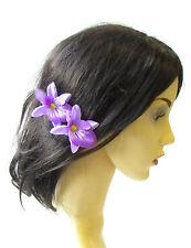 2 x Purple Cattleya Orchid Flower Hair Pins Vintage Rockabilly Clip 1950s 1476