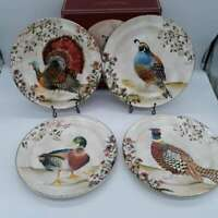 New Pottery Barn Botanical Harvest Bird Turkey Dinner Plates Set of 4 Round 10""