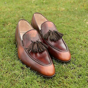 Handmade Men's Leather New Formal Dress  Loafers & Slip-Ons driving shoes-473